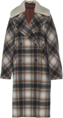 Martin Grant Shearling-Trimmed Checked Brushed Wool Coat