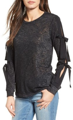 Women's Pleione Ribbon Tie Sleeve Knit Top $49 thestylecure.com