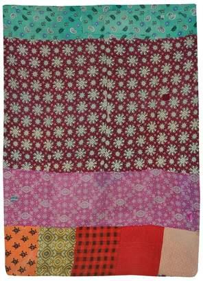 Jaipur Textile Hub Vintage Cotton Reversible Quilt Size made with Organic Cotton Soft and Lightweight Bangali Gudri(JTH-NV-91)