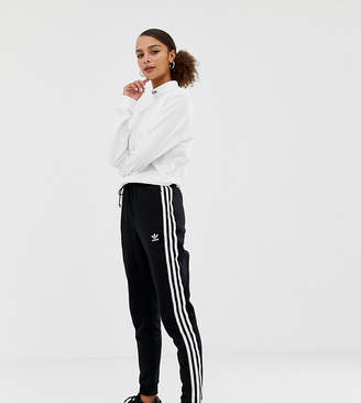 adidas Three Stripe Cuffed Sweat Pants In Black