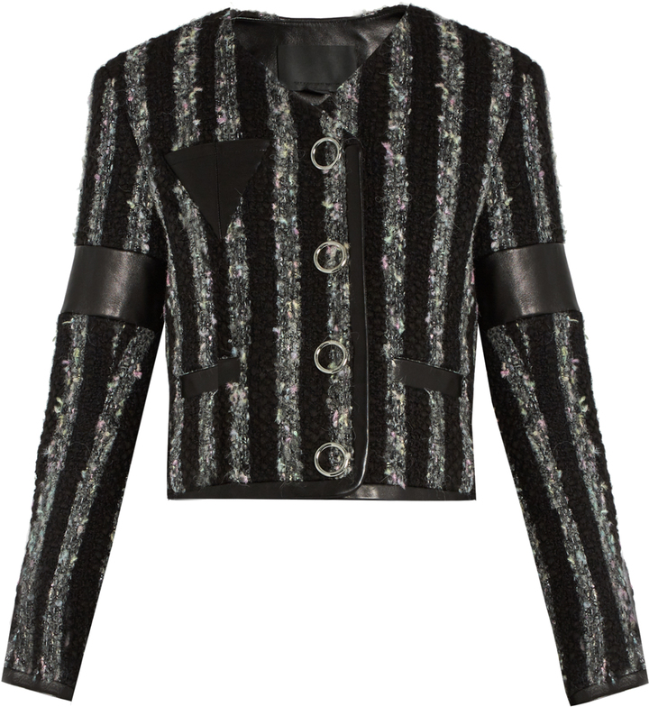 Alexander WangALEXANDER WANG Leather-trimmed striped tweed cropped jacket