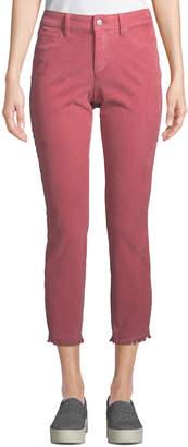 NYDJ Alina Frayed-Hem Skinny Ankle Jeans, Pink
