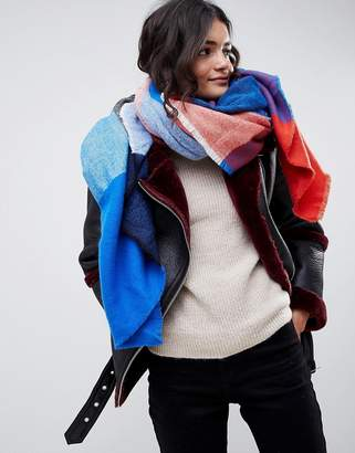 Asos Design DESIGN oversized square scarf in blown up check in blue and red