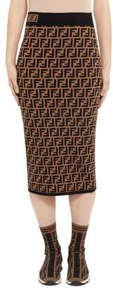 Fendi Logo Jacquard Midi Sweater Skirt