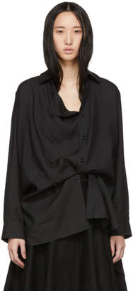 Y's Ys Black O-FR Drape Shirt