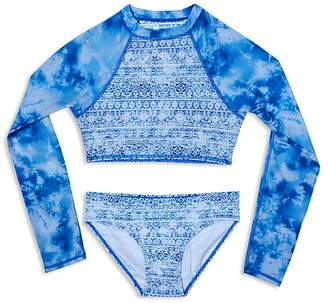 Gossip Girl Girls' Jean's Addiction Rash Guard Swimsuit Set - Big Kid