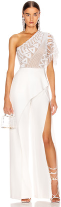 ZUHAIR MURAD Tiki Tattoo Embroidered Cady Jumpsuit in Bright White | FWRD