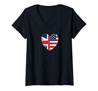 Womens Fourth Of July Shirts British American Flags Heart UK USA V-Neck T-Shirt
