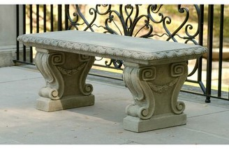 Campania International Longwood Cast Stone Garden Bench