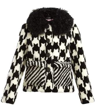 Saks Potts - Lucy Hound's Tooth Shearling Jacket - Womens - Black White