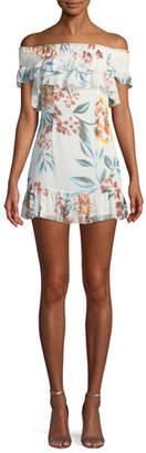 Tularosa Lanzo Off-Shoulder Floral Flounce Short Dress