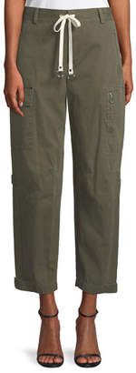 Alexander Wang Garment Washed Twill Wide-Leg Cargo Ankle Pants