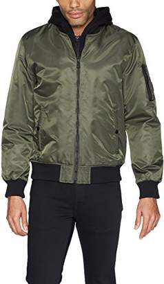 GUESS Men's Hooded Bomber Jacket