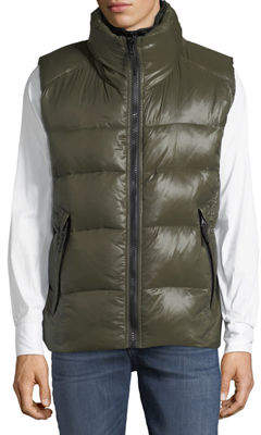 S13/Nyc Glossy Quilted Vest w/Neoprene Inset