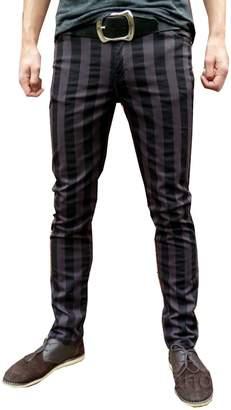 Fuzzdandy Drainpipe Skinny Pants Jeans Striped Mod Grey Gray Black