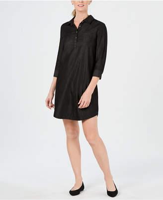 Karen Scott Cotton 3/4 Sleeve Chambray Shirtdress