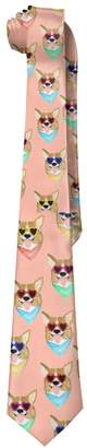 Corgi Duda Colorful Love Sunglass Mens Polyester Silk Wide Ties/Necktie/Necktie Ties