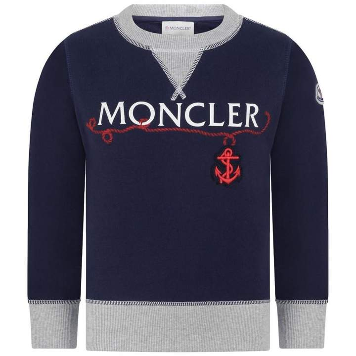 MonclerBoys Navy Anchor Sweater