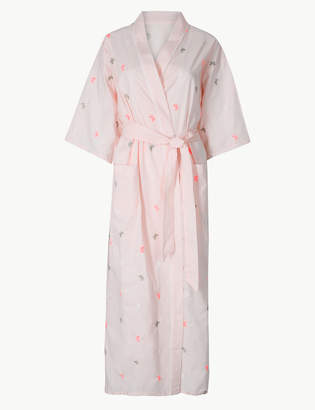 c63a4beaf9 M S CollectionMarks and Spencer Pure Cotton Embroidered Long Dressing Gown