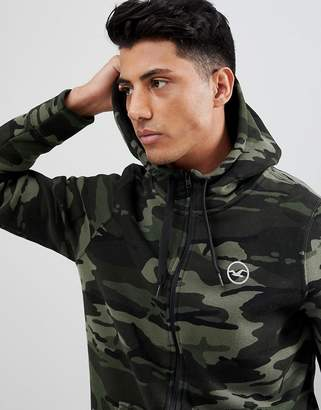 Hollister Athletic Icon Logo Camo Print Full Zip Hoodie In Green