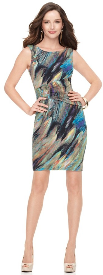 Calvin Klein Dress, Sleeveless Feather Print Sheath
