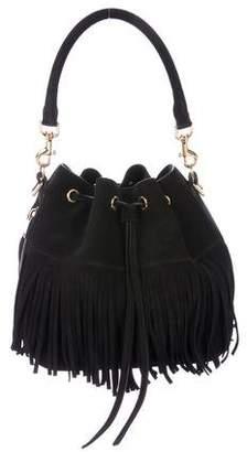 Saint Laurent Suede Emmanuelle Fringe Bucket Bag