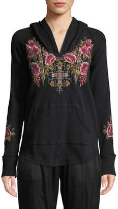 Johnny Was Petite Axton Thermal Pullover Hoodie with Embroidery