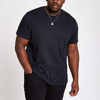 River Island Mens Big and Tall slim fit black studded T-shirt