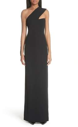 Alexander Wang Sheer Inset One Shoulder Crepe Gown