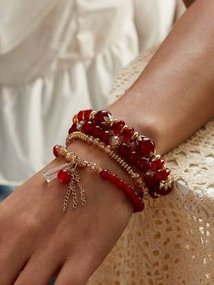 Shein Chain Tassel Beaded Bracelet 4pcs