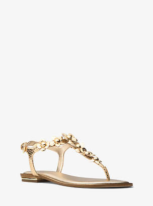 Michael Kors Tricia Floral Applique Metallic Embossed Leather Sandal