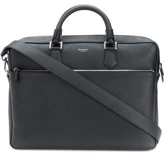 Serapian pebbled leather laptop bag
