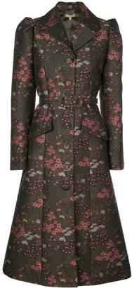 Michael Kors Floral brocade single-breasted coat