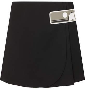 Prada Double Natte Rubber-appliquéd Wool Wrap Mini Skirt