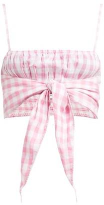 Akari Anaak Gingham Cotton Cropped Top - Womens - Pink Print