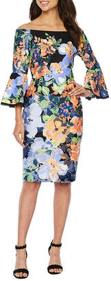 Danny & Nicole 3/4 Bell Sleeve Off The Shoulder Floral Sheath Dress