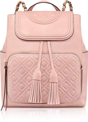 Tory Burch Shell Pink Quilted Leather Fleming Backpack