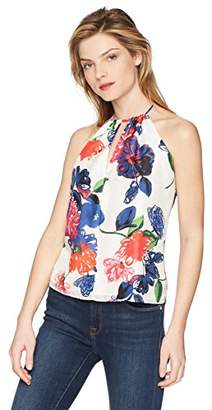 Milly Women's Floral Print on Silk Deep V-Neck Reese Tank Top