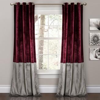 """Lush Decor 2-pack Prima Velvet Color Block Room Darkening Window Curtains - 38"""" x 84"""""""