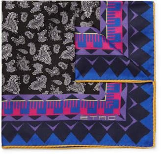Etro Paisley-Print Silk-Twill Pocket Square - Men - Black