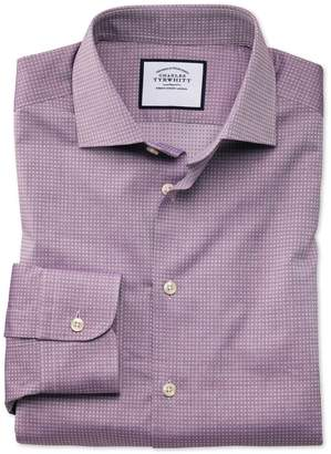 Charles Tyrwhitt Classic Fit Business Casual Purple Square Texture Egyptian Cotton Dress Shirt Single Cuff Size 16/35
