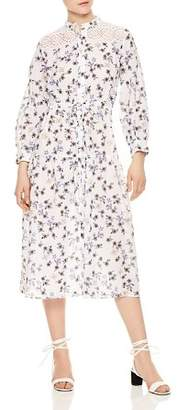 Sandro Queen Button-Down Lace-Inset Dress