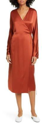 Vince Long Sleeve Silk Wrap Dress