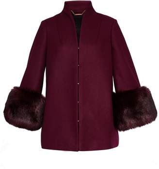 Ted Baker Rilly Wool Coat Faux Fur Cuff