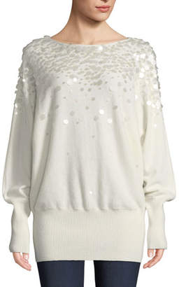 Lafayette 148 New York Cashmere Dolman-Sleeve Sweater with Paillettes