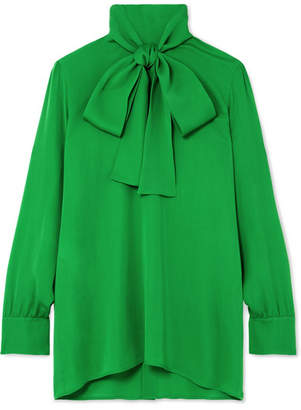 Gucci Pussy-bow Silk-georgette Blouse - Green