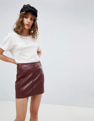 Free People Vegan Leather Retro Bodycon Mini Skirt