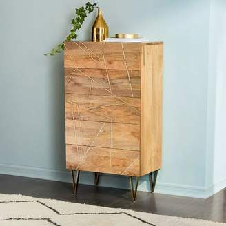 west elm Roar + RabbitTM Brass Geo Inlay 5-Drawer Dresser - Raw Mango