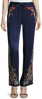Johnny Was Angeline Embroidered Wide-Leg Easy Pants $200 thestylecure.com