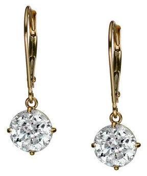 At Qvc Diamonique 100 Facet 3 Ct Tw Lever Back Earrings 14k Gold